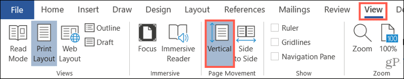 View, Print Layout, Vertical in Word