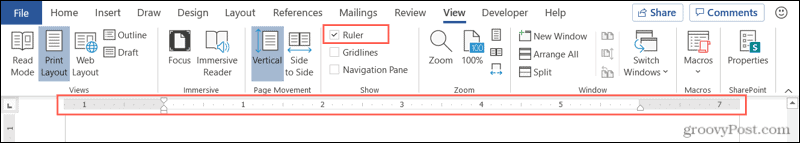 Show the ruler in Word