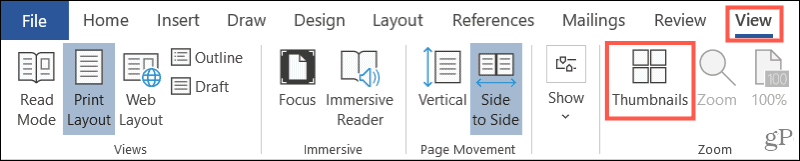 View Thumbnails in Word