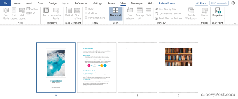 Thumbnail View in Word