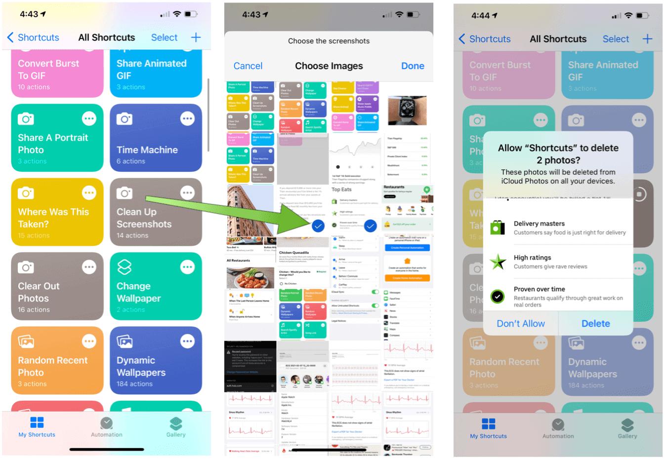 Siri Shortcuts for Photography Clean up screenshots
