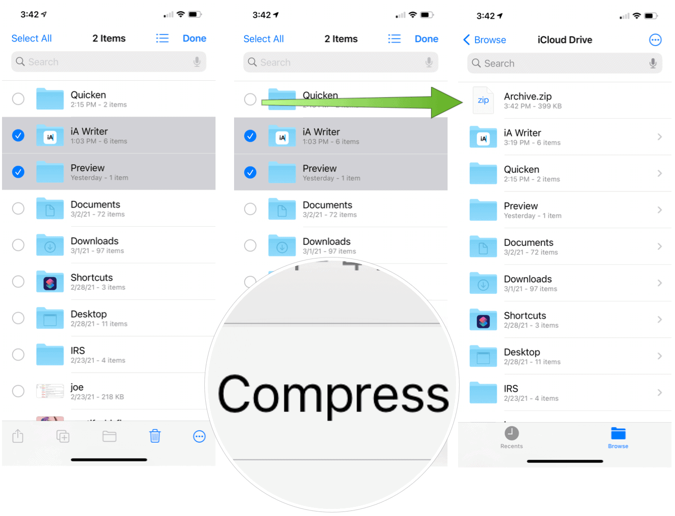 Create and Extract Zip Files on iPhone Create Zip file