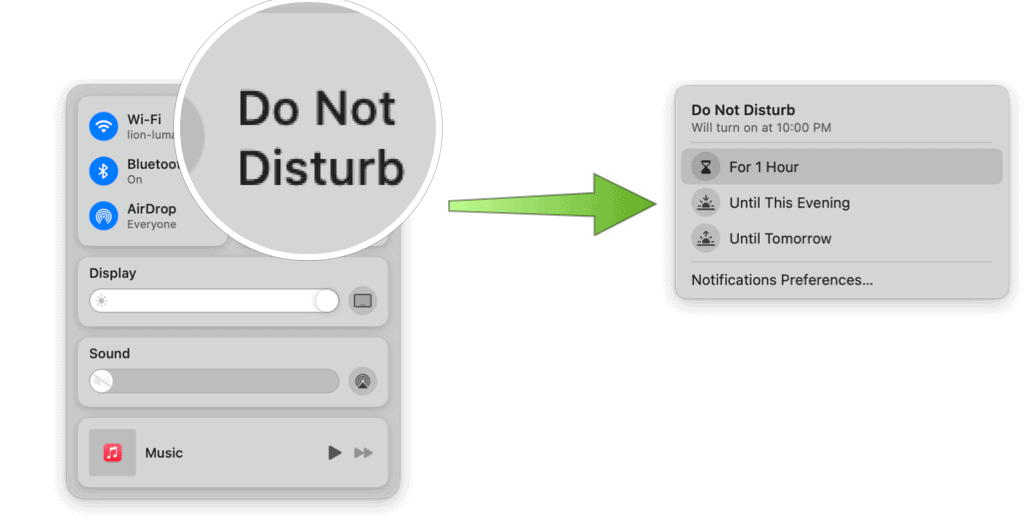 Turn on Do Not Disturb manually