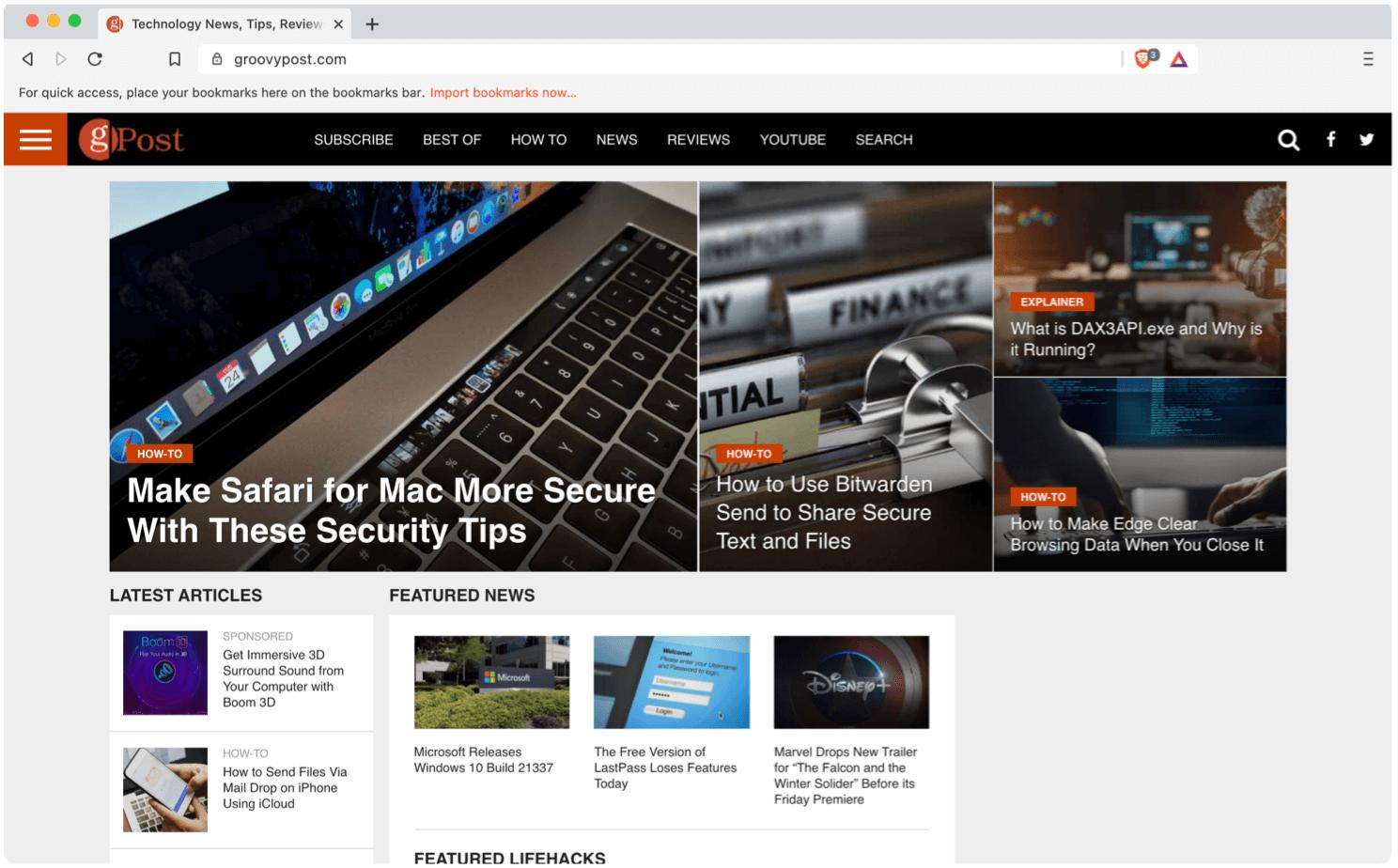 Groovy website on Brave browser