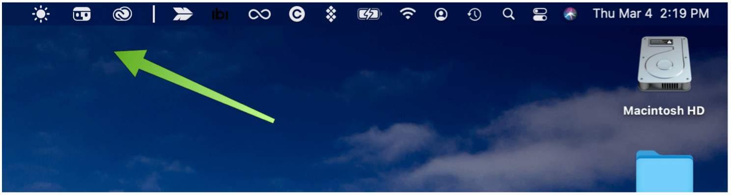 Menu Bar moved icons