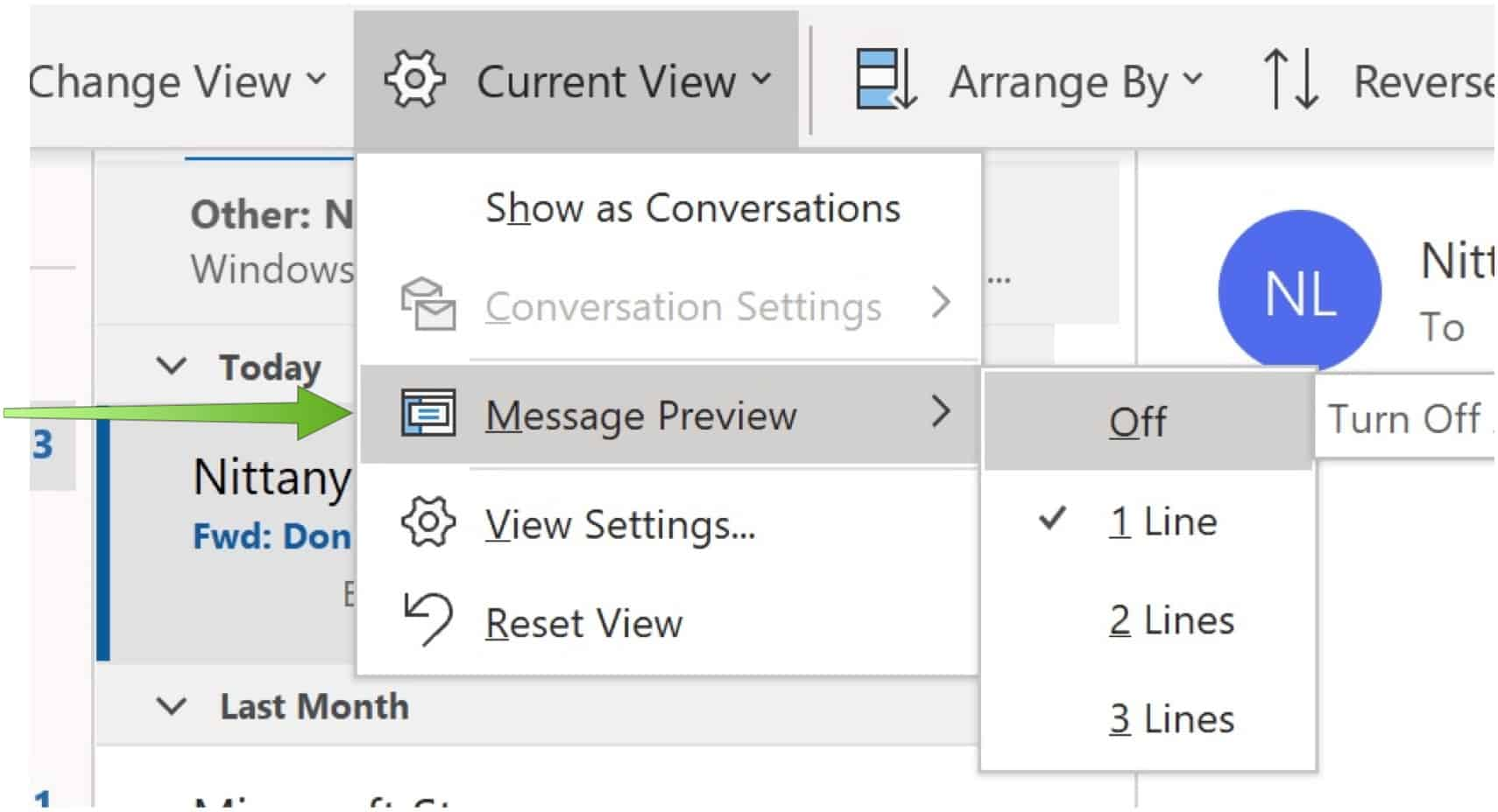 Message preview settings