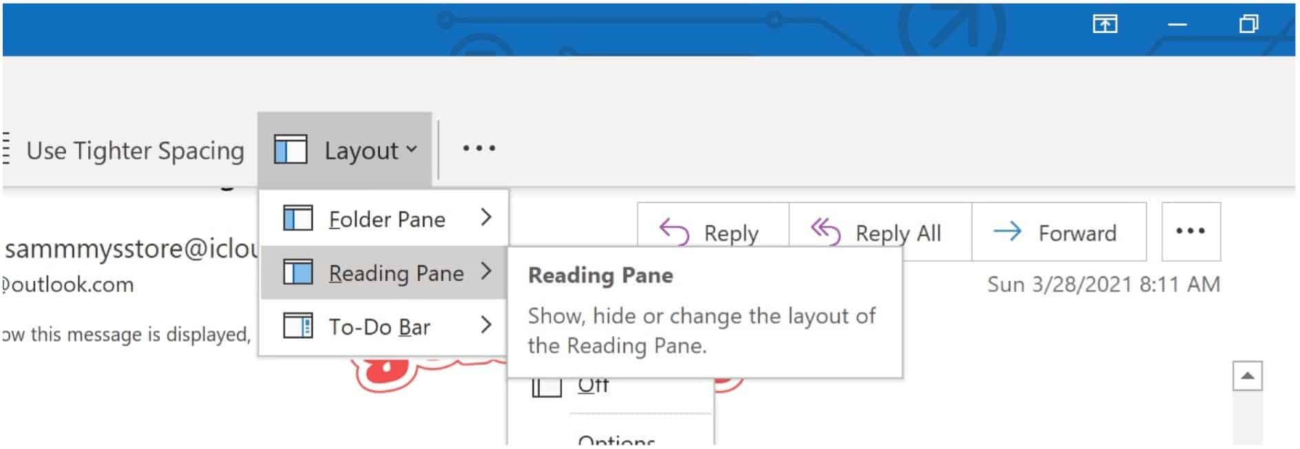 Microsoft Outlook Reading Pane