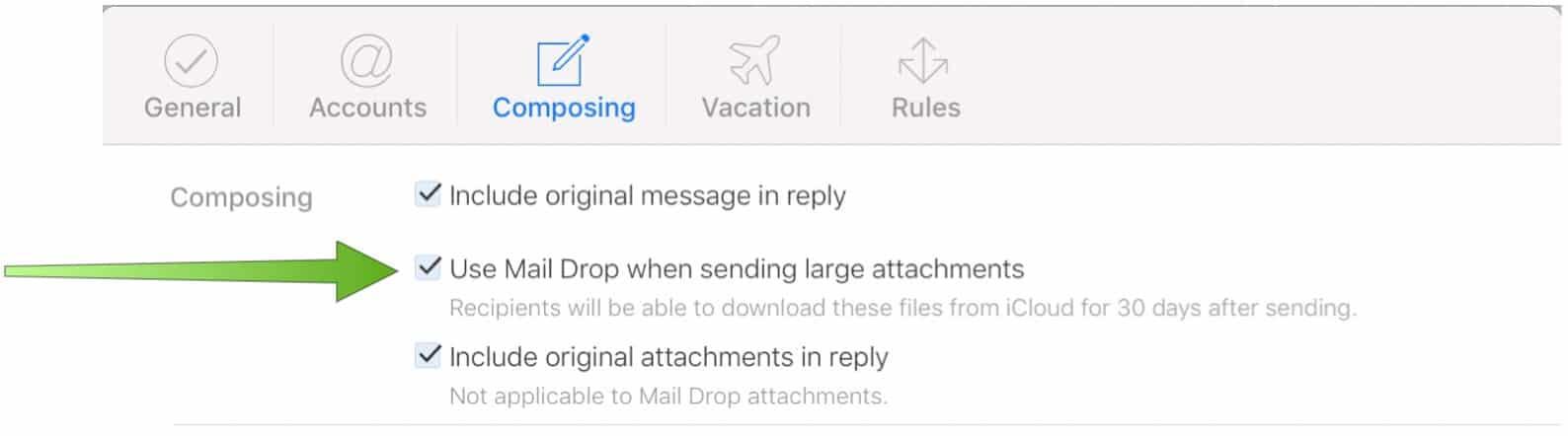 Turn on Mail Drop