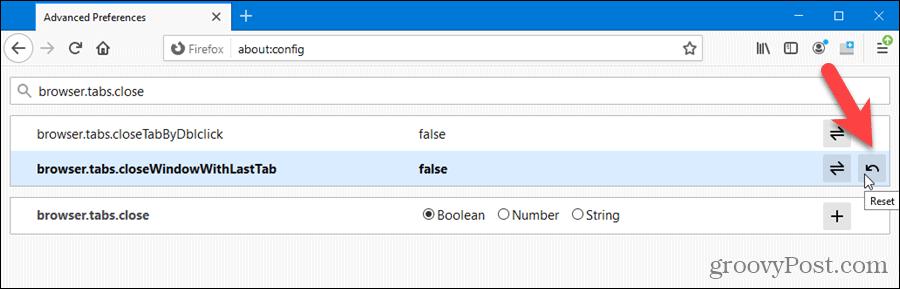 Reset an advanced setting in Firefox