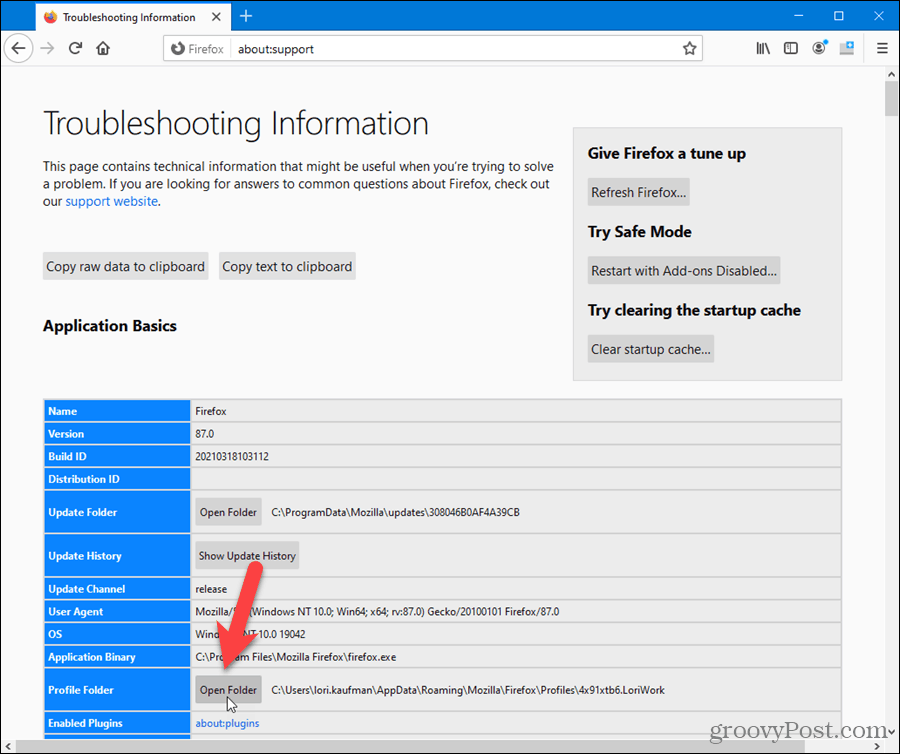 Open profile folder from within Firefox