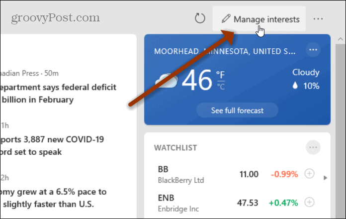 Manage Interests button
