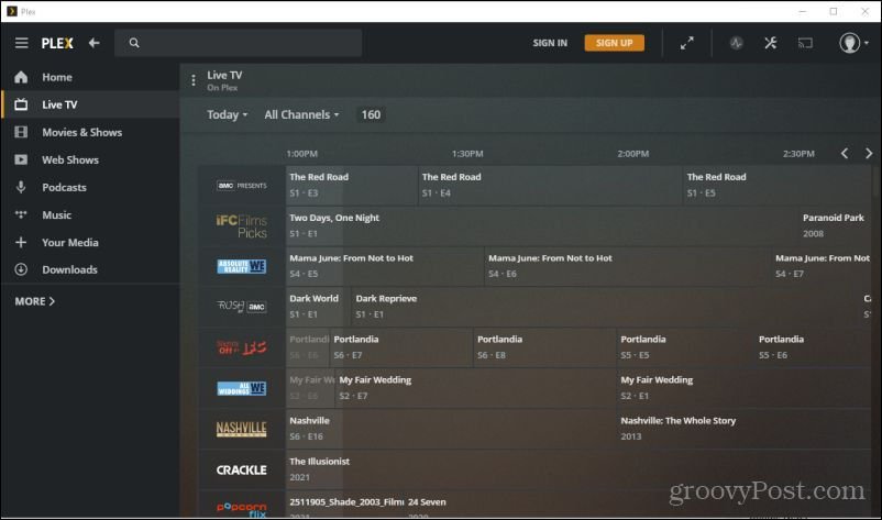 plex tv listings