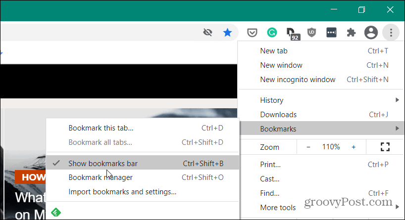 bookmarks settings