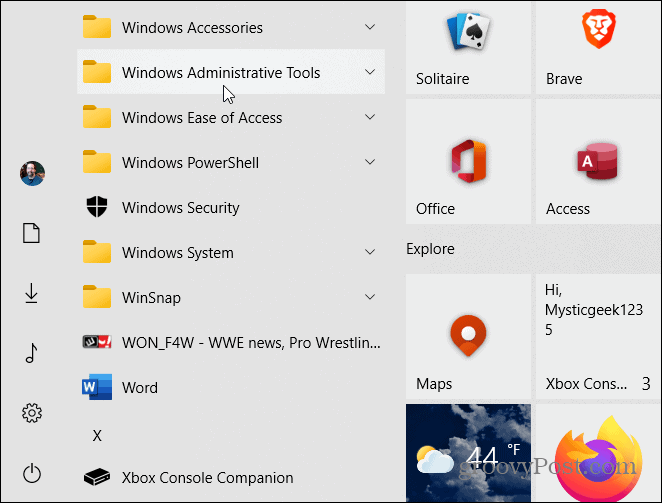 win admin tools folder start