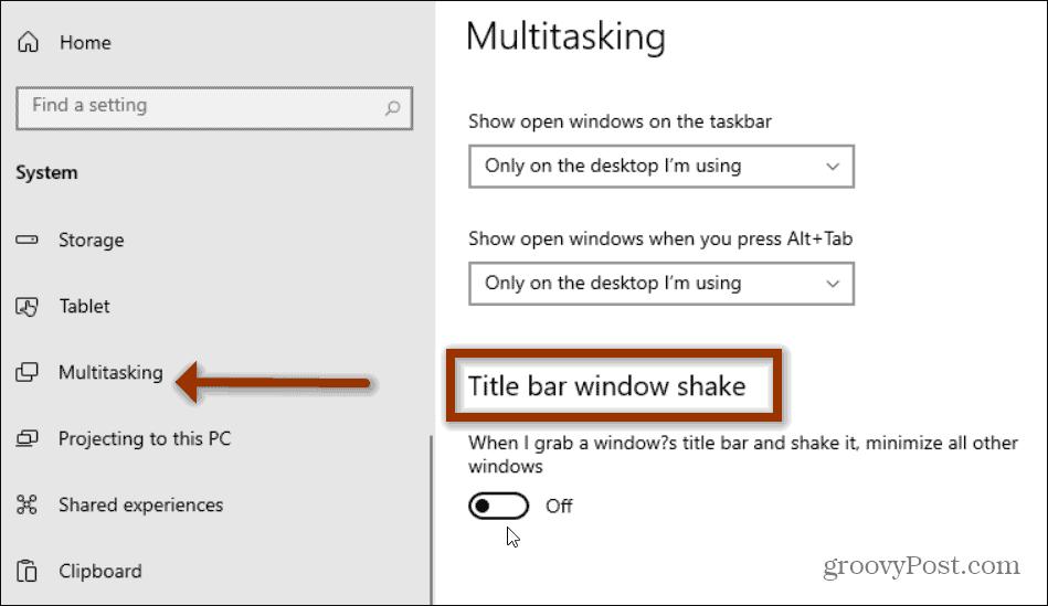 multitasking Aero Shake windows 10