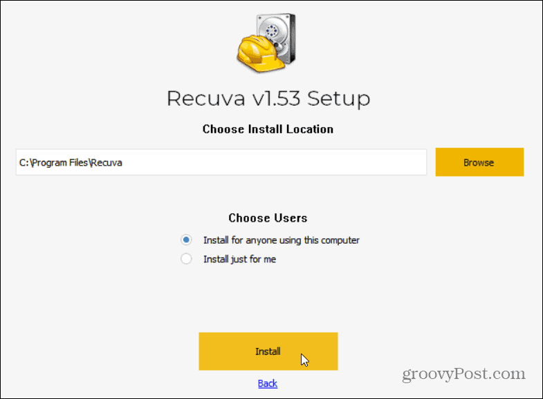 recuva install options