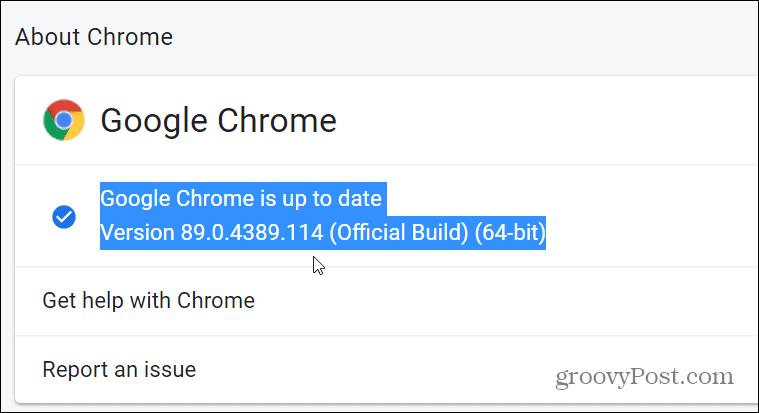 version of Chrome