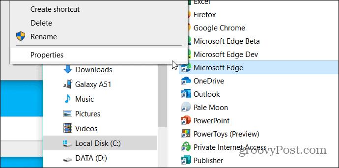 folder start menu edge shortcut