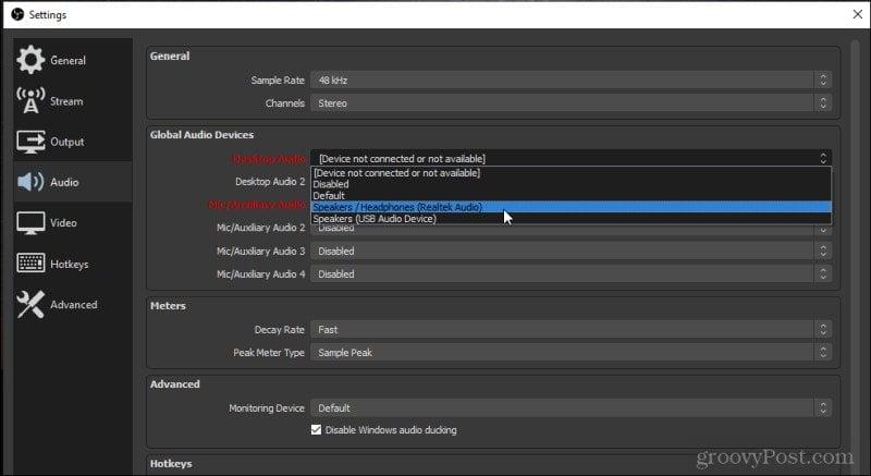 selecting sound inputs