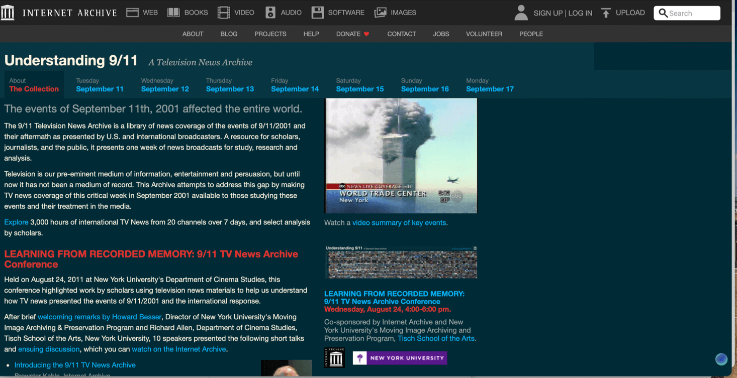 9-11 special section Internet Archive