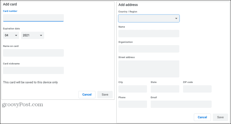 Add Card and Address to Autofill