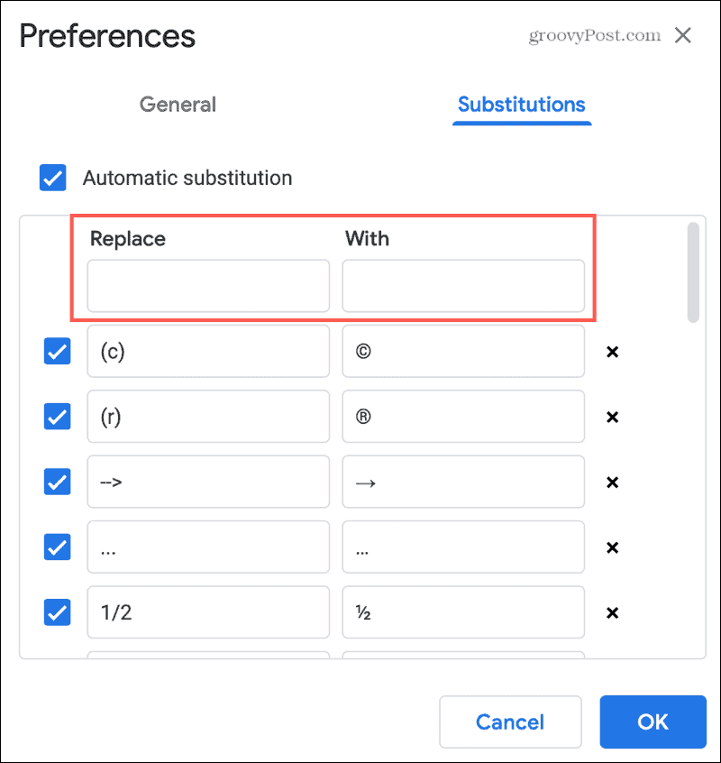 Add Text Substitutions in Google Docs