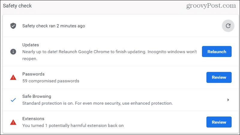 Chrome Safety Check Results