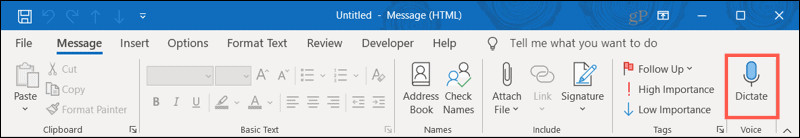 Dictate in the Ribbon in Outlook