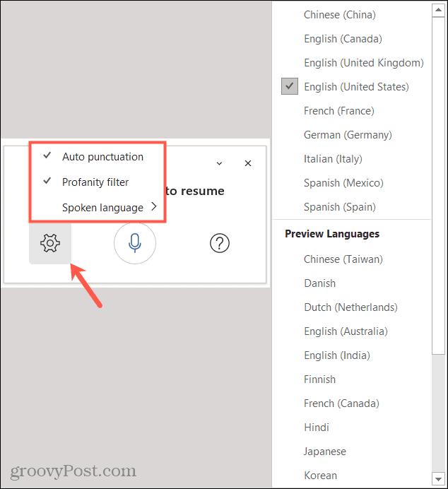 Dictation Toolbar Settings