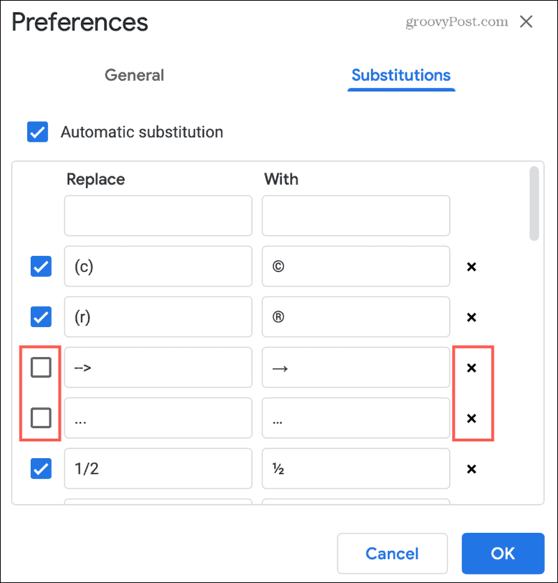 Disable or Remove a Substitution