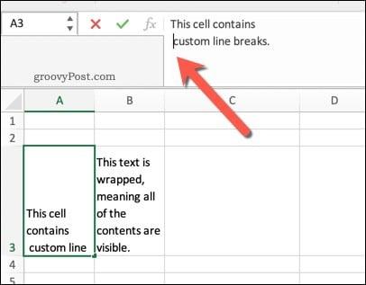 An example of line breaks in Excel