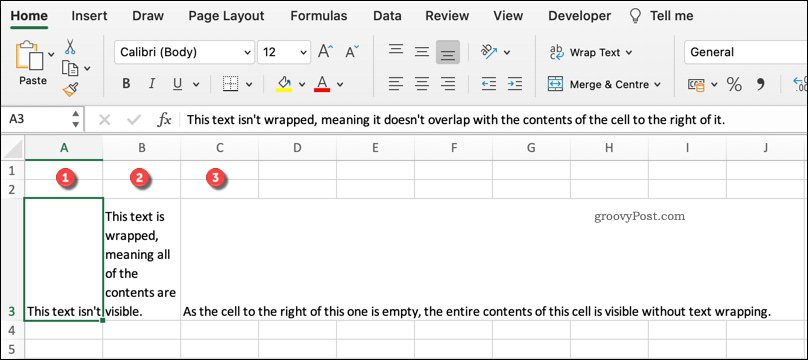 An example of various text wrapping formats in Excel