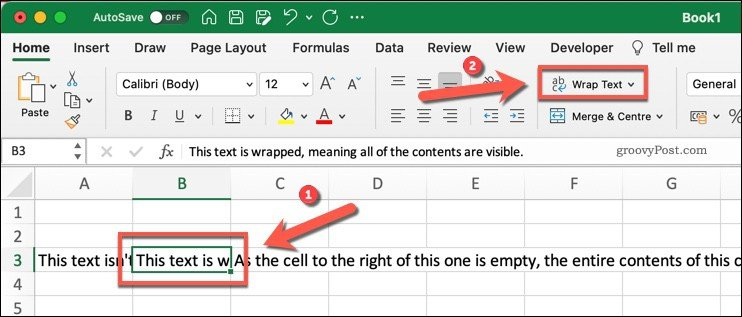 The Wrap Text button in Microsoft Excel