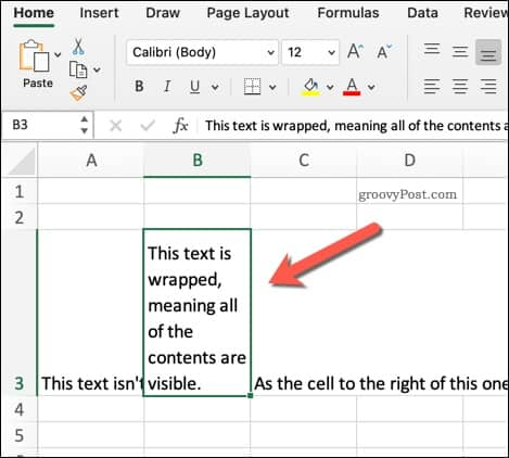 Example of Wrapped Text in Excel