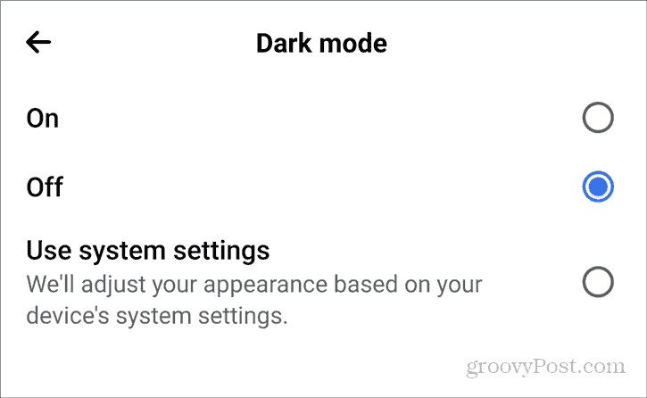 Facebook Dark Mode Android Settings Privacy Dark Mode on off