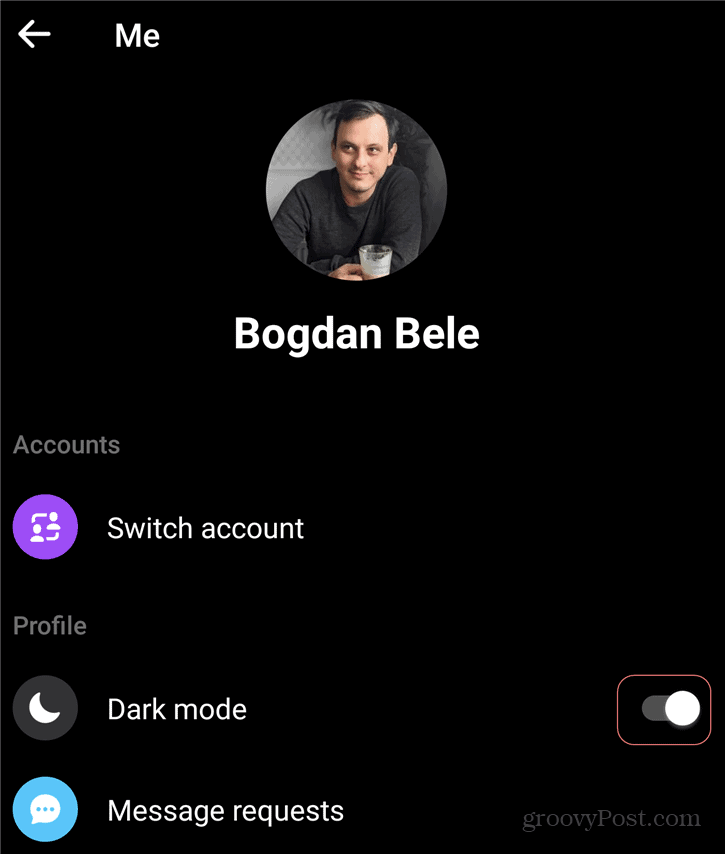 Facebook Messenger Dark Mode Android Switch