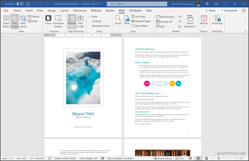 Multiple Pages in Word
