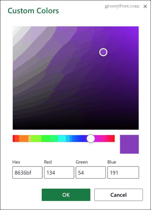 Custom Color Palette on Excel for the Web