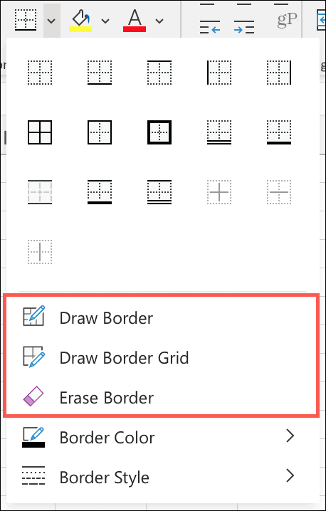 Draw or Erase Borders on Excel for the Web