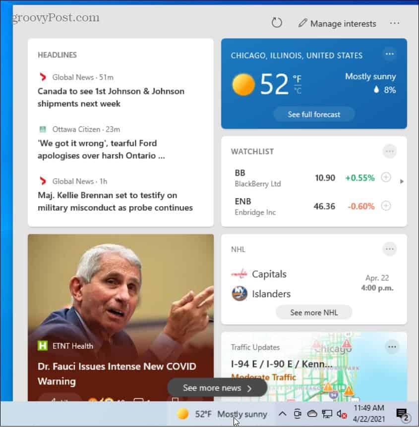 News and Interests Taskbar Widget Windows 10