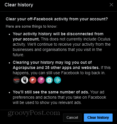Off-Facebook activity clear history