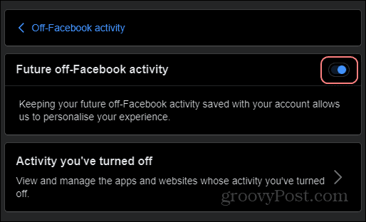 Off-Facebook activity manage future activity off