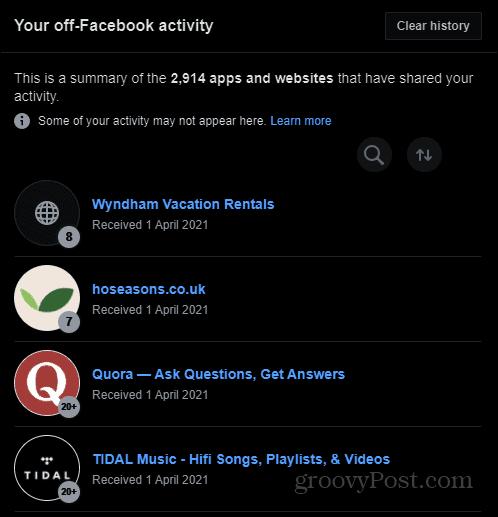 Off-Facebook activity summary