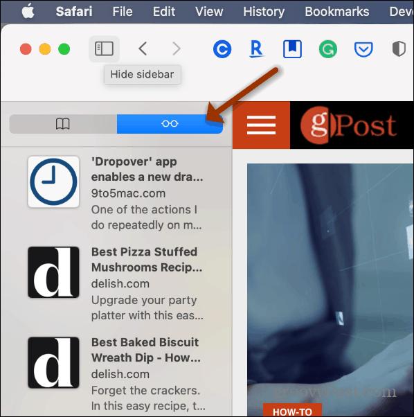 Reading List Safari Mac