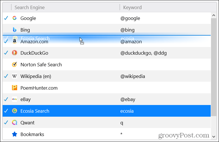 Rearrange Search Engines