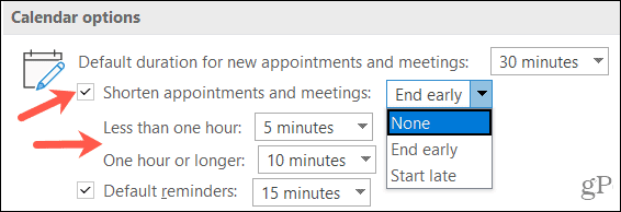 Shorten Appointments in Outlook