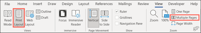 View, Print Layout, Multiple Pages in Word