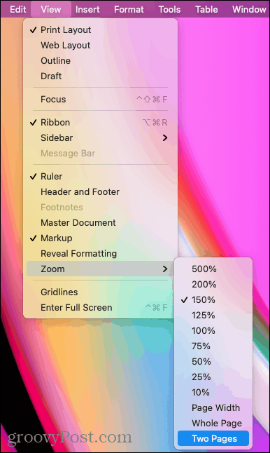 View, Zoom, Two Pages in Word on Mac