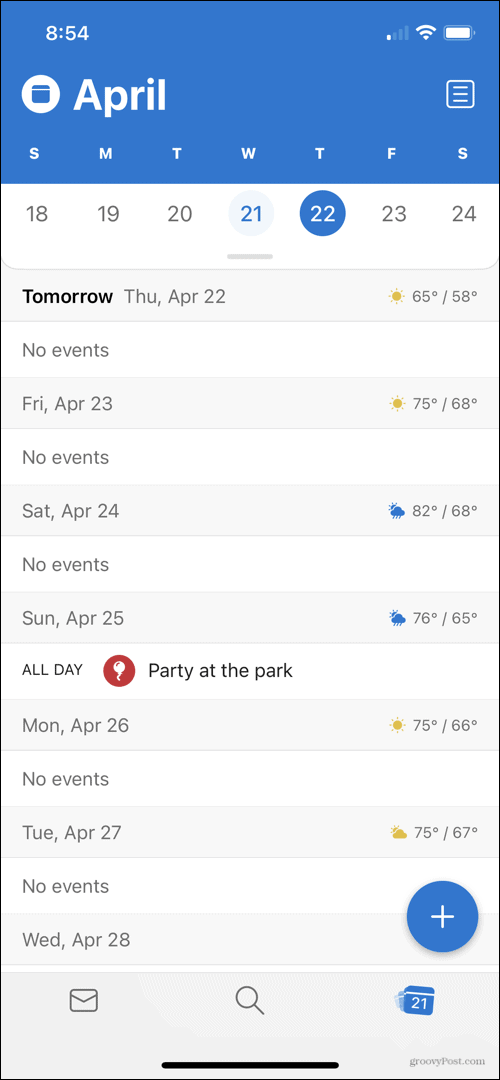 Weather Forecast in Outlook Calendar