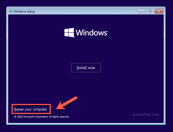 The Windows 10 Installer screen
